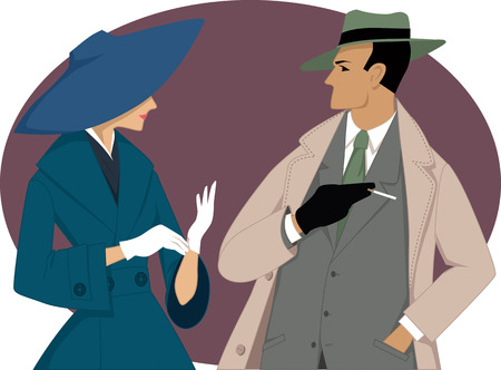 Portrait of a couple dressed in 1950s fashion, vector illustration, no transparencies, EPS 8