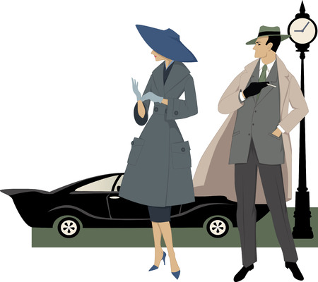 Elegant couple dressed in 1950s fashion, a classic car and a clock behind them, vector illustration, no transparencies, ESP 8 Vectores
