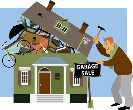 spring sale: Man putting up a garage sale sign in front of a house, overrun with stuff, vector cartoon