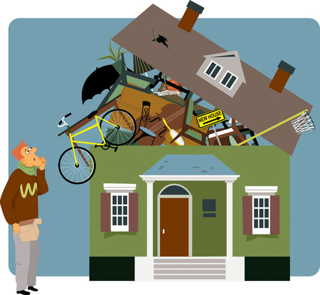 relocate: Confused man holding a small box, looking at a house overflown with his belongings, vector illustration