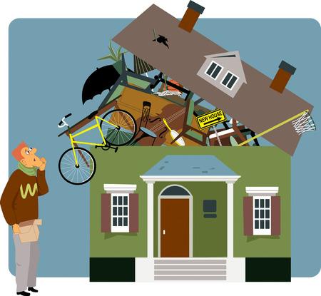 dificuldade: Homem confuso que prende uma pequena caixa, olhando para uma casa sobrevoada com seus pertences, ilustra