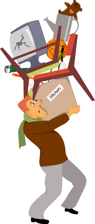 Man in a process of relocation carrying boxes and assorted household stuff, vector illustration