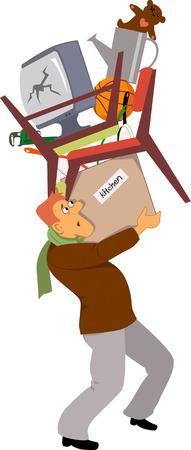 Hombre en un proceso de reubicación llevar cajas y muebles de la casa surtidos, ilustración vectorial Ilustración de vector