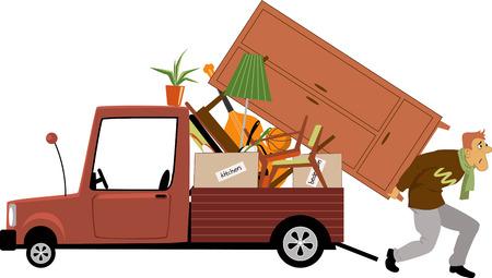 Un hombre agotado la carga de un camión con muebles, ilustración vectorial Vectores