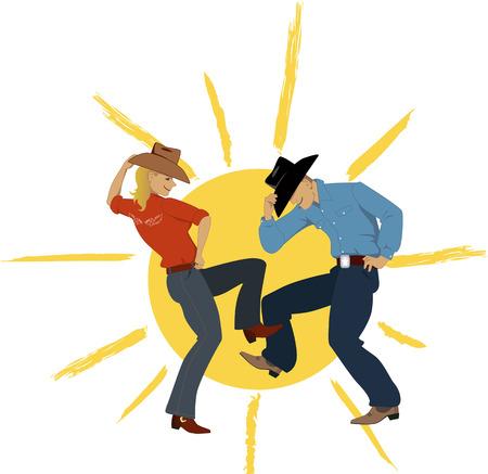 Kovboj a Cowgirl tančí se sluncem na pozadí, vektorové ilustrace, EPS 8 Ilustrace