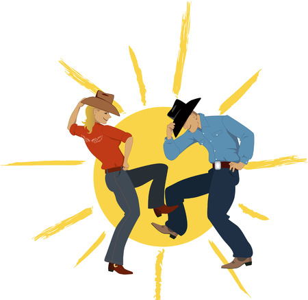 vaqueritas: Vaquero y vaquera bailando con un sol en el fondo, ilustraci�n vectorial, EPS 8