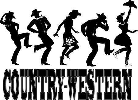 """krajina: Silueta lidí oblečených v západním stylu oblečení, tanec, slova  """"country-western """" na dně, ne bílá, EPS 8"""