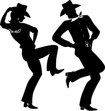 country girls: Silhouette of a cowboy and cowgirl dancing country-western, no white, EPS 8