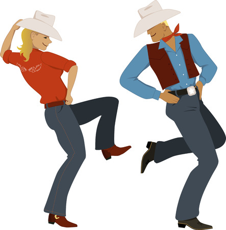 Young couple dressed in traditional Western style attire, cowboy boots and stetson hats, dancing, vector illustration, no transparencies, EPS 8