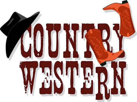 botas vaqueras: Bandera País occidental con sombrero Stetson y botas de vaquero, ilustración vectorial, sin transparencias, EPS 8