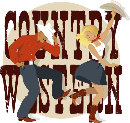 vaqueritas: Joven pareja de baile de estilo occidental del país, letras decorativas en el fondo, ilustración vectorial
