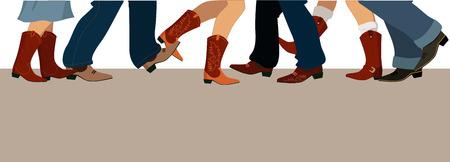 Bandera horizontal con hombres y mujeres en las piernas botas de vaquero bailando país occidental, ilustración vectorial, sin transparencias, copia espacio en la parte inferior