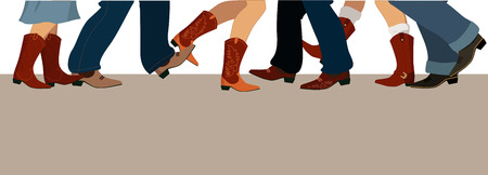 country girls: Horizontal banner with male and female legs in cowboy boots dancing country western, vector illustration, no transparencies, copy space at the bottom