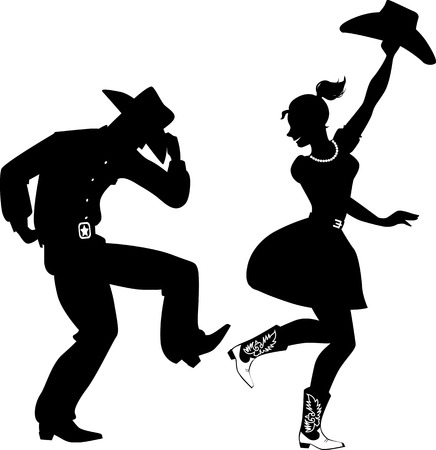 Black silhouette of a couple dressed in traditional Western style clothes, cowboy boots and hats, dancing, no white, EPS 8