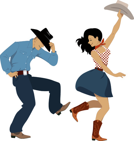 Cowboy and cowgirl dancing country western dance, isolated on white, vector illustration, no transparencies, EPS 8