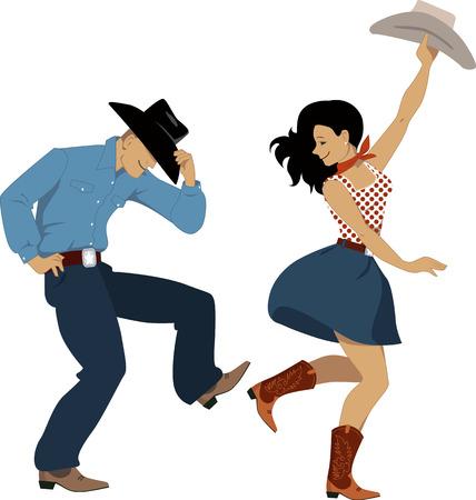 Vaquero y vaquera país bailando la danza occidental, aislado en blanco, ilustración vectorial, sin transparencias, EPS 8