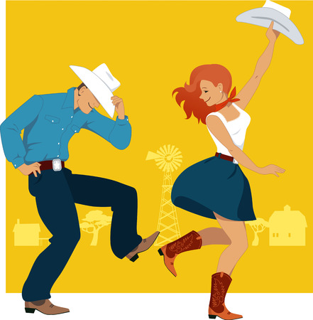 Cowboy and cowgirl dancing country western dance, farmland background, vector illustration, no transparencies, EPS 8