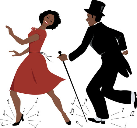 pies bailando: Pareja afroamericana vestida con ropa retro estilo bailando claqué, notas de la música con vuelos de bajo sus pies, ilustración vectorial, EPS 8