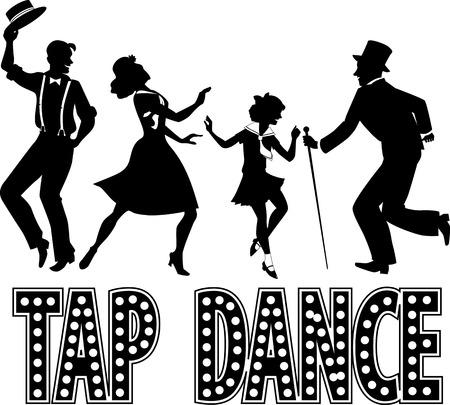 niños bailando: Silueta negro con las letras del estilo retro y cuatro artistas vestidos con la moda vintage, no blanco, EPS 8