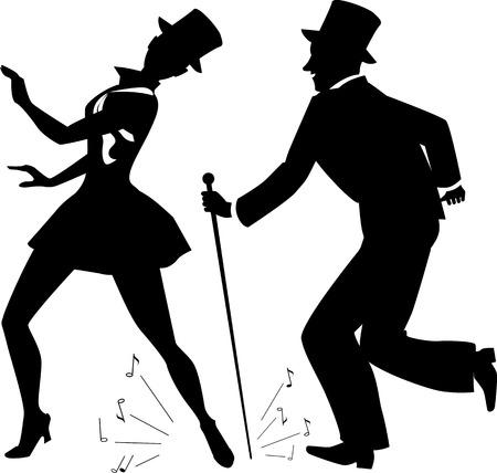 pareja bailando: Toque ejecutantes de la danza en traje de escena y sombreros de copa vector silueta, hay blanco