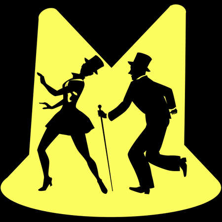 tap dance: Black silhouette of a tap dancing couple in top-hats under spotlights, EPS 8 Illustration