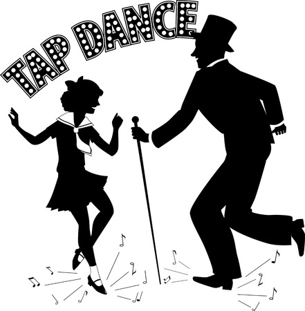 little girl feet: Black vector silhouette of a man in a top hat and with a cane teaching little girl in a sailor dress dancing, music notes flying from under their feet, retro style lettering on the top, no white, EPS 8 Illustration