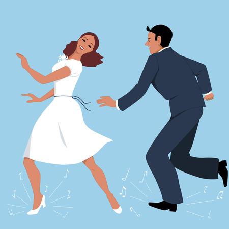 Paar, gekleed in retro kleding, tapdansen, muziek nota vliegen van onder hun voeten, vector illustratie, geen transparanten, EPS 8