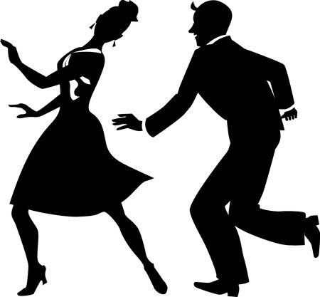 jazz dance: Black vector silhouette of a couple dancing tap or step, no white, EPS 8