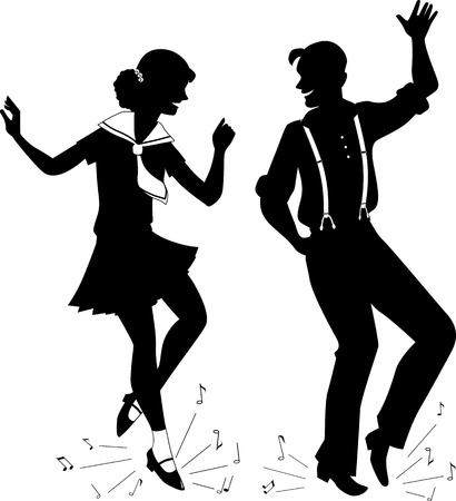 Black vector silhouette of a young couple dressed in vintage fashion step-dancing, music notes flying from under their feet, no white,  EPS 8 일러스트