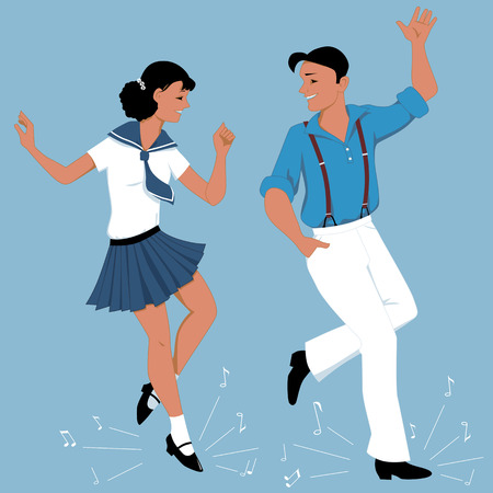 Young couple dressed in vintage fashion tap-dancing, music notes flying from under their feet, vector illustration, no transparencies, EPS 8