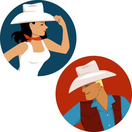 cowgirl: Cowgirl and cowboy round portrait badges, vector illustration, no transparencies, EPS 8