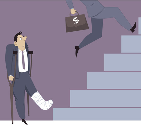 competitions: Man with his leg in a cast looking at his colleagues passing him on a career ladder, vector illustration, EPS 8 Illustration