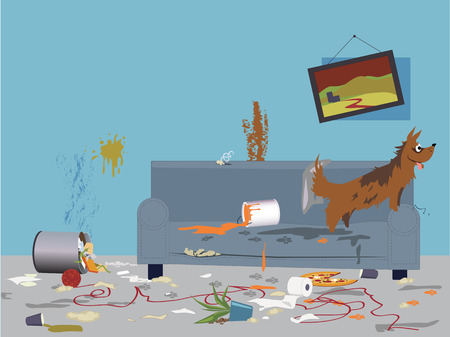 Interior of a very messy room, turned upside down by an energetic happy dog, sitting on a torn dirty couch, vector illustration, no transparencies,