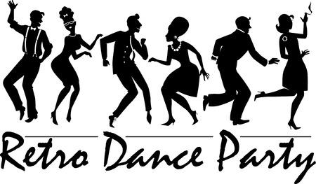 donna che balla: Silhouette di persone vestite in moda vintage, che ballano il twist e rock and roll, illustrazione vettoriale, nessun bianco,