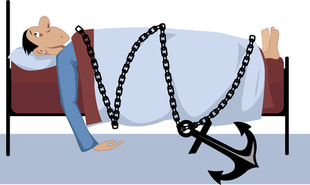 tiredness: Man lying in bed, chained to it with a giant anchor lying on the floor, as a metaphor for illness or luck of energy, vector illustration, no transparencies,