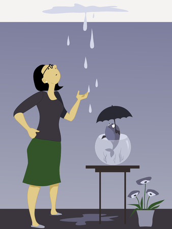 Woman looking at a dripping leak on the ceiling, fish in a bowl holding an umbrella, vector illustration, no transparencies,