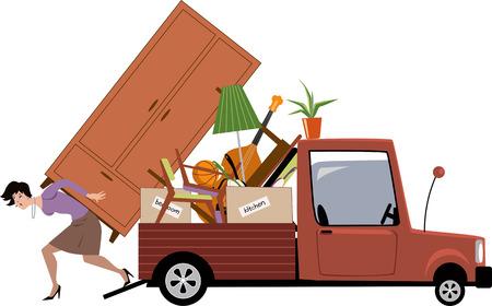 Mujer en proceso de reubicación cargando muebles en una camioneta, ilustración vectorial, sin transparencias,