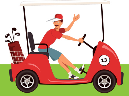 Young guy driving a golf cart with a bag of clubs on it, smiling and waving, vector cartoon, no transparencies, EPS 8 Vector
