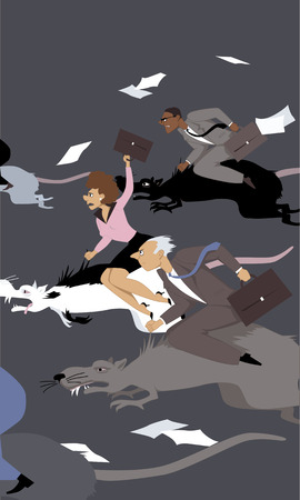 rata caricatura: Las personas compiten en una carrera de ratas, montando ratas gigantes, ilustraci�n vectorial, sin transparencias, EPS 8