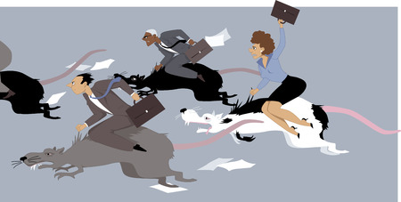 pointless: Stressed business people with suitcases, riding giant rats, competing each other in a race, vector cartoon, no transparencies, EPS 8