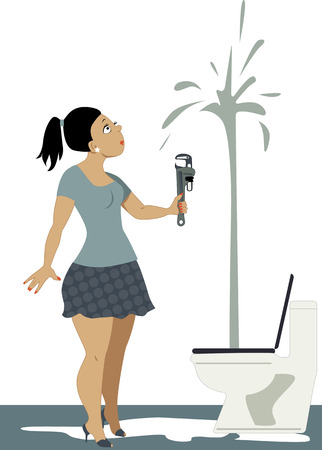 Young fancy dressed woman in heels and mini skirt holding a wrench and looking in a shock at a toilet, spouting water to the ceiling, vector illustration, no transparencies,