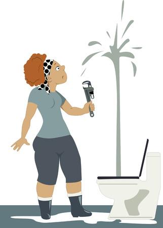 aguas residuales: Conmocionado mujer con una llave mirando un aseo, chorros de agua hasta el techo, ilustración vectorial, sin transparencias