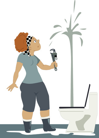 water damage: Shocked woman with a wrench looking at a toilet, spouting water to the ceiling, vector illustration, no transparencies