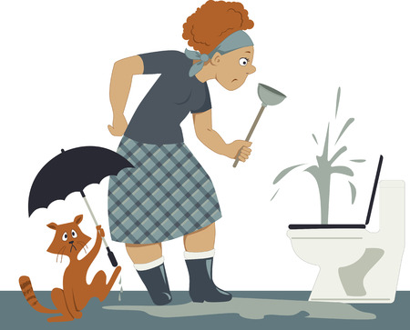 Confused woman in rubber boots with a plunger standing over a plugged toilet, in a puddle, a cat holding an umbrella Illusztráció