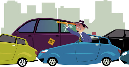 Upset driver, sitting in a traffic jam, looking out of his car with a spy-glass, cityscape on the background, vector illustration, no transparencies