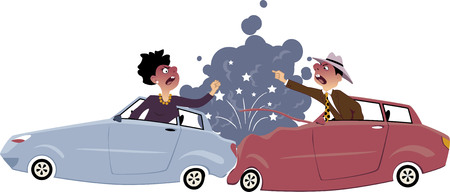 road rage: Traffic collision with one car rear-ended another, male and female drivers screaming and gesturing at each other, smoke and sparkles coming from damages vehicles, vector illustration, no transparencies Illustration