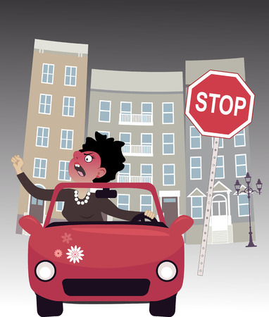 road rage: Enraged woman in a car on a city road, screaming and gesturing, cityscape and a stop sign on the background, vector illustration, no transparencies