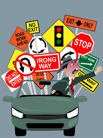road rage: Cartoon character of an angry driver, screaming and gesturing, assorted warning traffic signs on the background, vector illustration, no transparencies Illustration