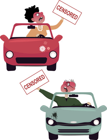 road rage: Enraged male and female drivers making obscene gestures, covered with censored stickers, cartoon characters isolated on white, vector illustration, no transparencies, EPS 8 Illustration