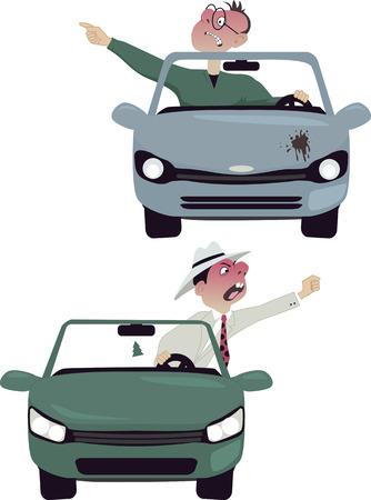 insulto: Dos personajes de dibujos animados vector de conductores furiosos en sus coches, gritando y haciendo gestos, aislado en blanco, sin transparencias Vectores